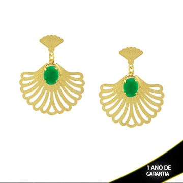 Imagem de Brinco Leque com Pedra Acrílica Oval Verde - 0210521