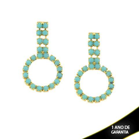 Imagem de Brinco Redondo com Duas Fileiras de Strass Azul Tiffany - 0210742