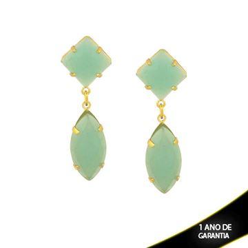 Imagem de Brinco de Duas Pedras Acrílicas Verde Claro - 0210532