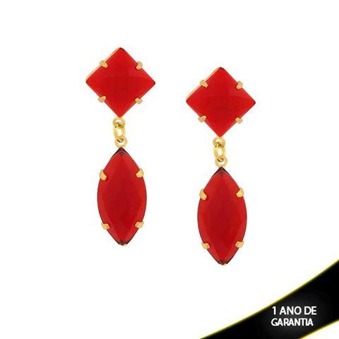 Imagem de Brinco de Duas Pedras Acrílicas Vermelhas - 0210532