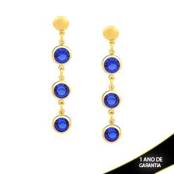 Imagem de Brinco com Três Pedras Redondas de Strass Azul - 0210531