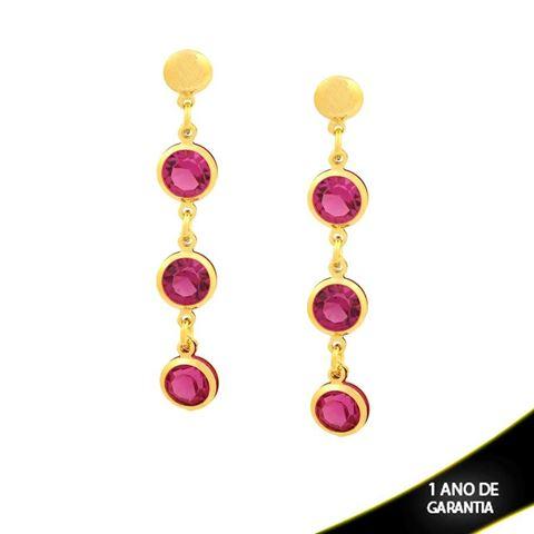 Imagem de Brinco com Três Pedras Redondas de Strass Pink - 0210531