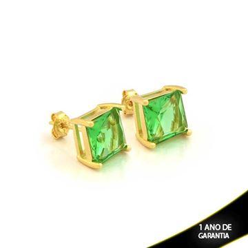 Imagem de Brinco de Pedra Natural Quadrada Verde Claro - 0210389