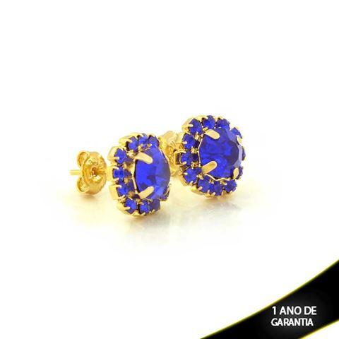 Imagem de Brinco de Flor com Pedras de Strass Azul Bic - 0210797