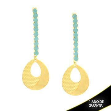 Imagem de Brinco Grande Gota Diamantada com Pedras Naturais Azul Claro - 0210716