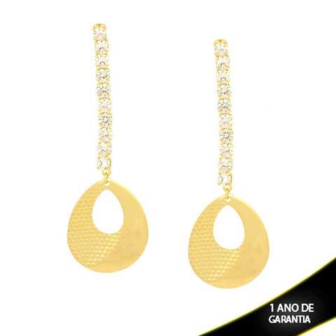 Imagem de Brinco Grande Gota Diamantada com Pedras Naturais Branco - 0210716