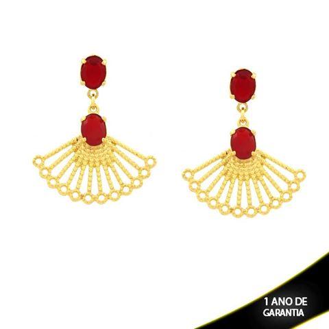 Imagem de Brinco de Leque com Duas Pedras Ovais Vermelhas - 0210934