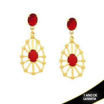 Imagem de Brinco de Gota Vazada com Duas Pedras Ovais Vermelhas - 0210933