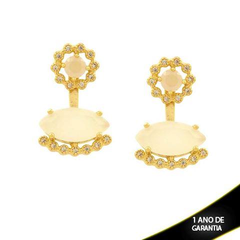 Imagem de Brinco Ear Jacket de Flor com Zircônias e Pedras Branco Gelo - 0210918