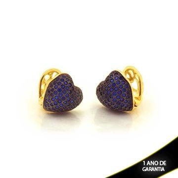 Imagem de Brinco de Argola Click de Coração com Aplique de Ródio e Zircônias Azul - 0211245