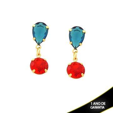 Imagem de Brinco de Pedras Gota e Redonda Azul Marinho e Vermelho - 0211403