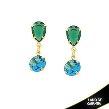 Imagem de Brinco de Pedras Gota e Redonda Verde e Azul Claro - 0211403