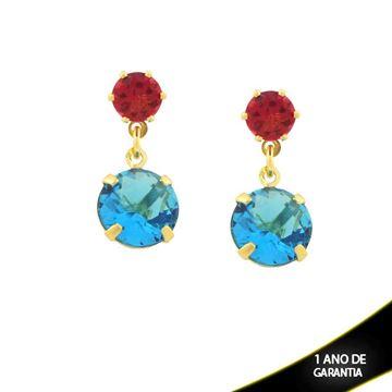 Imagem de Brinco Duas Pedras Redondas Rosa e Azul - 0211407