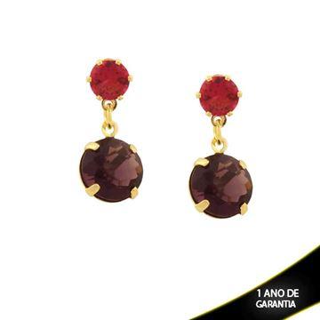 Imagem de Brinco Duas Pedras Redondas Rosa e Roxo - 0211407