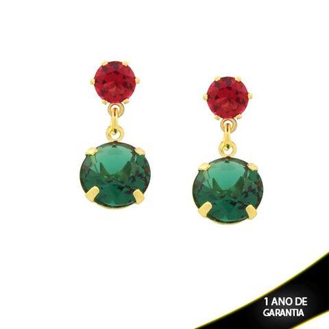 Imagem de Brinco Duas Pedras Redondas Rosa e Verde - 0211407