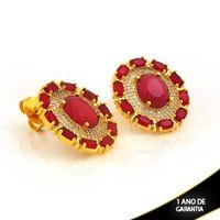 Imagem de Brinco Oval com Zircônias e Pedras Ovais Vermelhas - 0211491