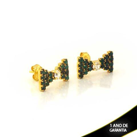 Imagem de Brinco de Laço com Pedras de Strass Verde - 0210744