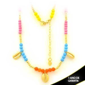 Imagem de Corrente Feminina Bolinhas Coloridas com Búzios 43cm Mais 6cm de Extensor - 0403581