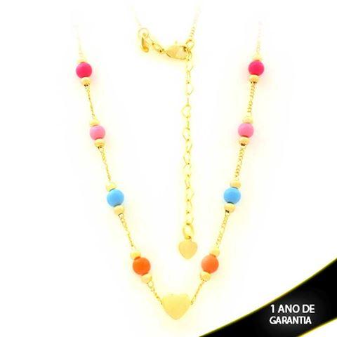 Imagem de Corrente Feminina Choker com Bolinhas Coloridas e Coração Liso 37cm Mais 6cm de Extensor - 0403583
