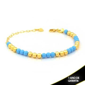 Imagem de Pulseira Feminina com Bolinhas Coloridas Azuis 15cm Mais 6cm de Extensor - 0503835