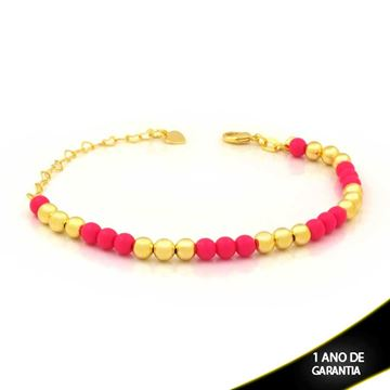 Imagem de Pulseira Feminina com Bolinhas Coloridas Pink 15cm Mais 6cm de Extensor - 0503837
