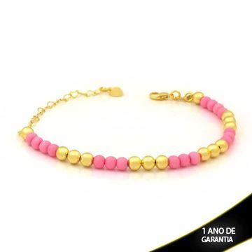 Imagem de Pulseira Feminina com Bolinhas Coloridas Rosa 15cm Mais 6cm de Extensor - 0503838