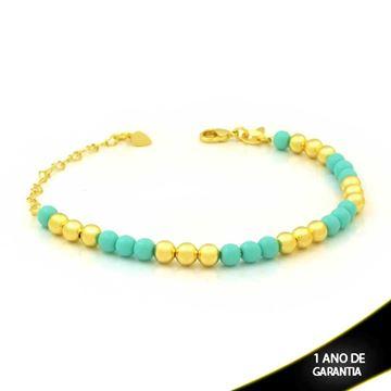 Imagem de Pulseira Feminina com Bolinhas Coloridas Verde 15cm Mais 6cm de Extensor - 0503839