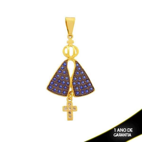 Imagem de Pingente Nossa Senhora Aparecida e Cruz com Zircônias e Aplique de Ródio - 0304442