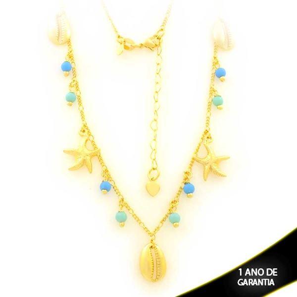 Imagem de Corrente Feminina com Bolinhas Coloridas, Búzios e Estrela do Mar 45cm Mais 5cm de Extensor - 0403574