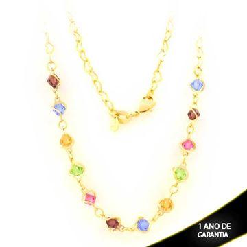 Imagem de Corrente Feminina Malha de Coração com Pedras Coloridas 45cm - 0403563