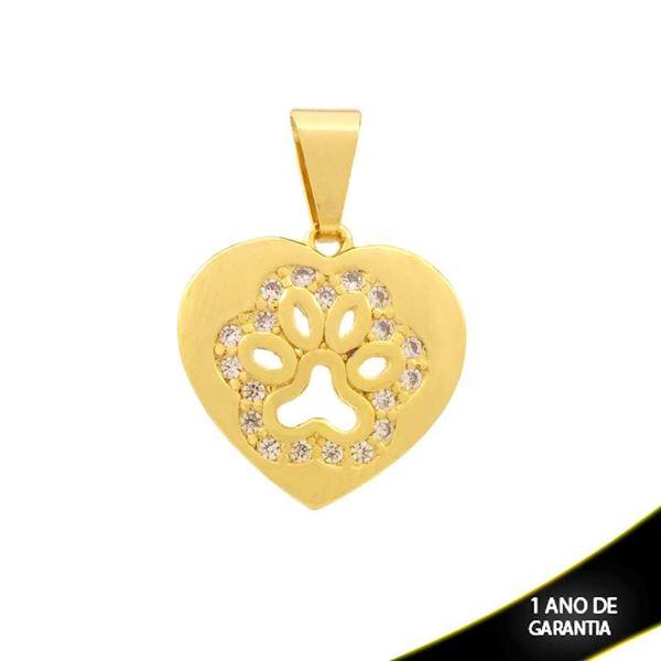 Imagem de Pingente Coração com Patinha de Cachorro com Zircônias - 0304438