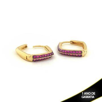 Imagem de Brinco Argola Com Aplique De Ródio E Zircônias Pink - 0210253