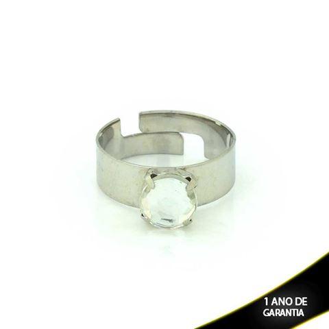 Imagem de Anel Aço Inox Com Pedra Acrílica Branca Regulável - 0100667
