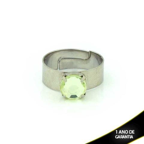 Imagem de Anel Aço Inox Com Pedra Acrílica Verde Regulável - 0100667