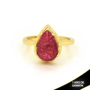 Imagem de Anel Com Pedra Fusion em Gota Pink - 0104723