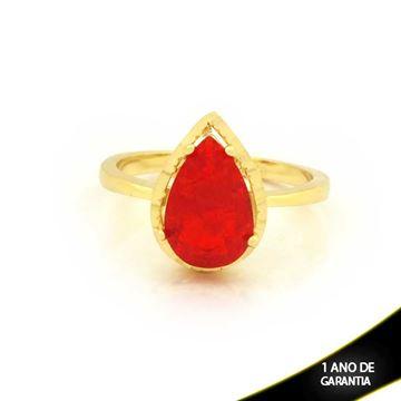 Imagem de Anel Com Pedra Fusion em Gota Vermelha - 0104723