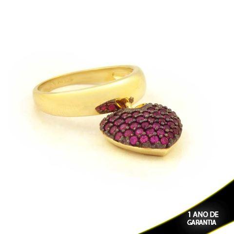 Imagem de Anel com Pingente de Coração com Aplique de Ródio e Zircônias Pink - 0104730