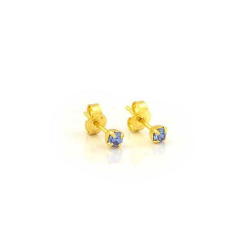Imagem de Brinco Infantil com Pedra de Strass Azul - 0200438