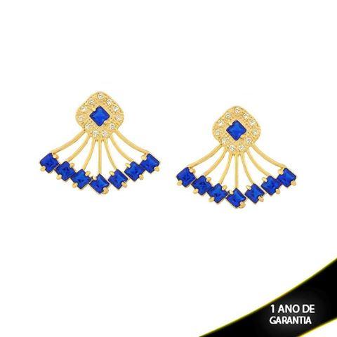 Imagem de Brinco de Leque com Zircônias e Pedras Quadradas Azul Bic - 0210432