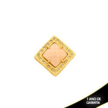 Imagem de Pingente De Pedra Natural Quadrada Rosê Com Zircônias - 0303408