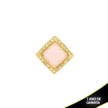 Imagem de Pingente Grande Quadrado De Pedra Natural Rosa Com Zircônias - 0303409