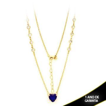 Imagem de Corrente Feminina Zircônias e Coração de Pedra Azul 47cm Mais 5cm De Extensor - 0402766