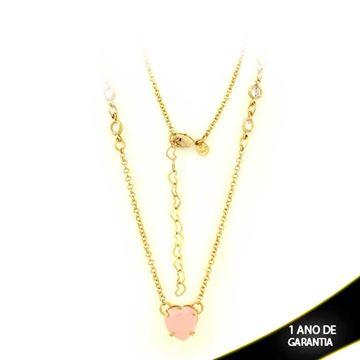 Imagem de Corrente Feminina Zircônias e Coração de Pedra Rosa 47cm Mais 5cm De Extensor - 0402766