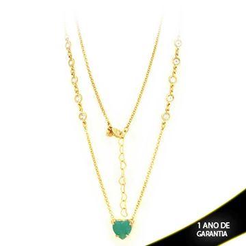 Imagem de Corrente Feminina Zircônias e Coração de Pedra Verde Água 47cm Mais 5cm De Extensor - 0402766