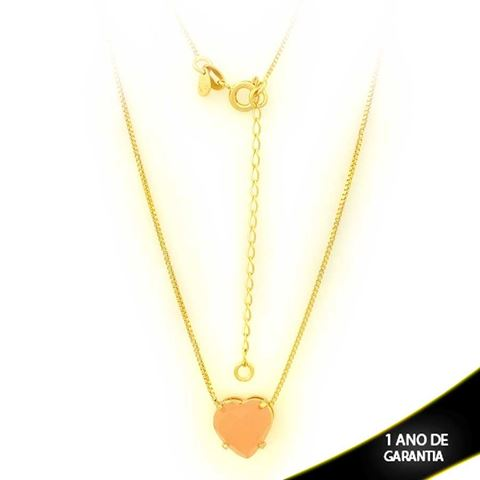 Imagem de Corrente Feminina Coração Com Pedra Acrílica Rosa 40cm Mais 5cm De Extensor - 0403128