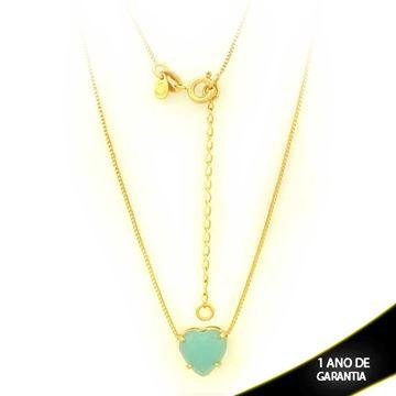 Imagem de Corrente Feminina Coração Com Pedra Acrílica Verde Claro 40cm Mais 5cm De Extensor - 0403128