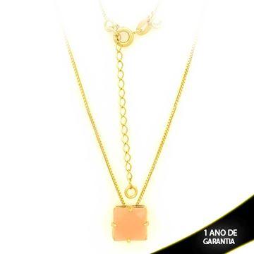 Imagem de Corrente Feminina Com Pedra Acrílica Rosa 40cm Mais 5cm De Extensor - 0403129