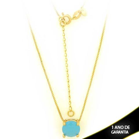 Imagem de Corrente Feminina Com Pedra Natural Redonda Azul Claro 40cm Mais 5cm De Extensor - 0403134