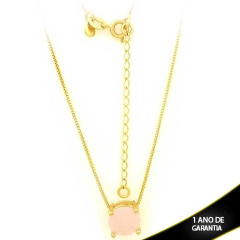 Imagem de Corrente Feminina Com Pedra Natural Redonda Rosa 40cm Mais 5cm De Extensor - 0403134