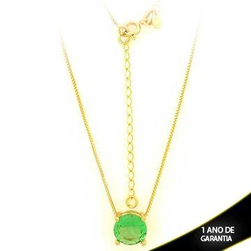 Imagem de Corrente Feminina Com Pedra Natural Redonda Verde Claro 40cm Mais 5cm De Extensor - 0403134
